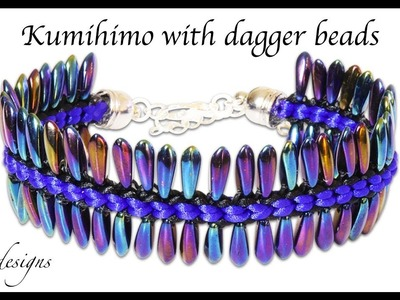 How to make a square kumihimo braid with dagger beads
