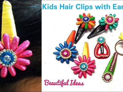 How to Make Kids Hair Clips with Ear Buds.DIY.How to Make Silk thread Designer Hair Clips at Home.
