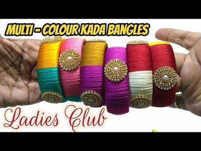 How to make Multi Colour Kada Bangles I Silk Thread Jewelry I DIY