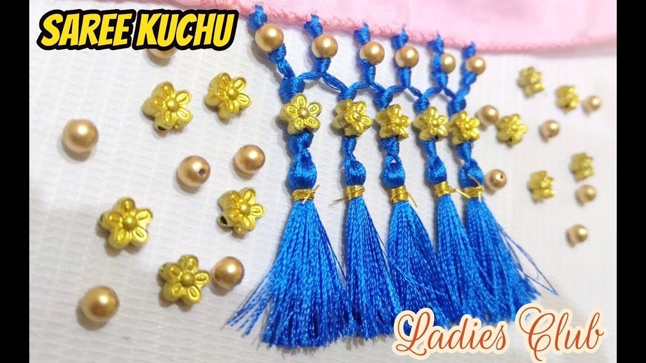 How to make Saree Kuchu. Saree Tassels. Gonde designs using Beads I DIY I Tutorials