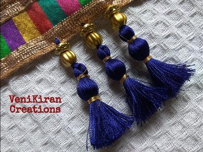 How to Make Saree Tassel.Kuchu design with Beads @ Home - Design 25::Tutorial