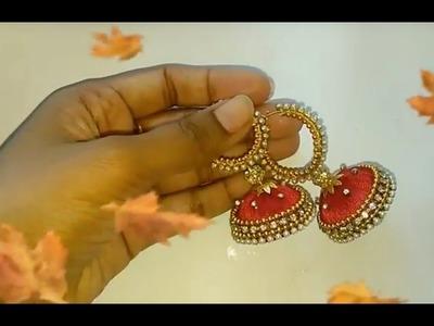 How to make Silk thread jewellery | slik thread earrings diy #1