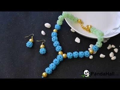 PandaHall Video Tutorial on Imitation Jade Glass Beads Stitch Jewelry Set