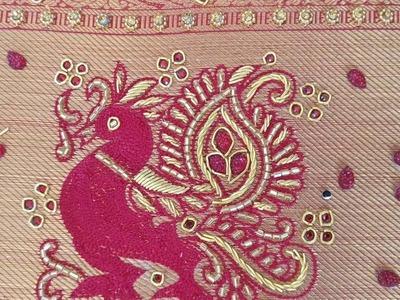 Peacock design using cut beads, Zardosi, thread work and stones