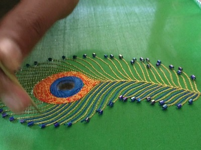 Peacock feather design - Mirror, beads and Thread Stitch