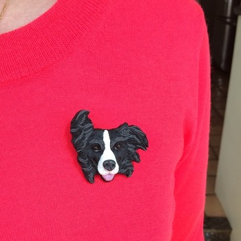 Border Collie dog Brooch/Pin ~ Handmade ~ Sculptured in polymer clay ~ 3 Dimensional Design ~ One of a kind!