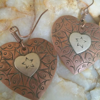 Copper and Silver Earrings Etched