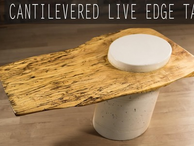 DIY Cantilevered Live-Edge Table w. White Concrete Base