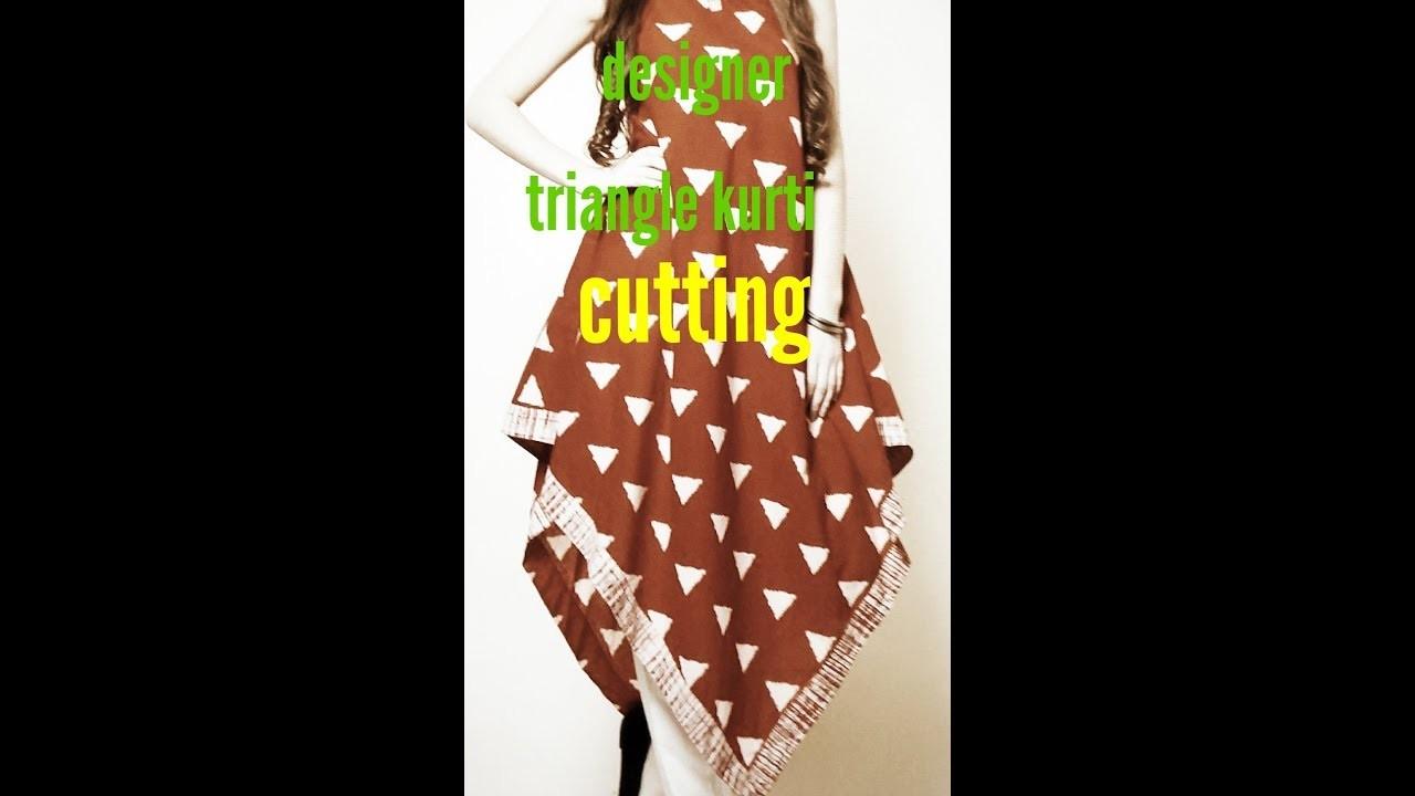 Diy designer triangle kurti cutting (hindi)part-1