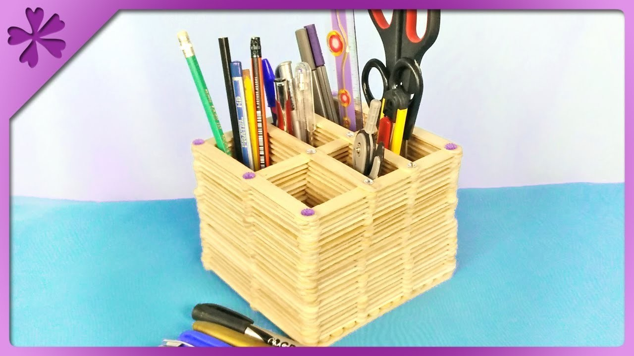 DIY How to make desk organizer out of ice cream sticks (ENG Subtitles) - Speed up #391