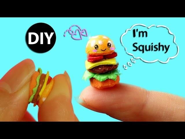 DIY Miniature Hamburger Squishy for Doll.Dollhouse Accessories