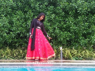 "DIY- Recycle your used T-Shirt and saree to a ""CROP-TOP LEHENGA"""