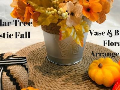 DOLLAR TREE FALL DIY:  RUSTIC VASE & BURLAP FLORAL ARRANGEMENT!