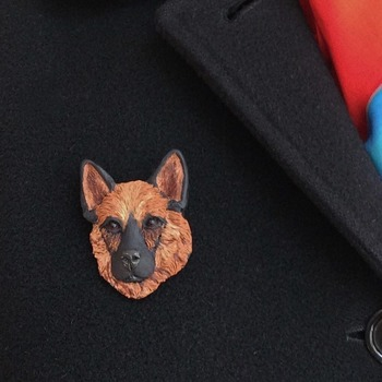 German Shepherd dog Brooch/Pin  ~  Handmade ~ Sculptured in polymer clay ~ 3 Dimensional Design ~ One of a kind!