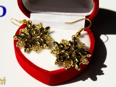 Gold Beaded Earrings with SuperDuo. 3D Beading Tutorial