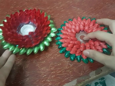 How make tea light candle holder from Pista (pistachio) Shell. diy