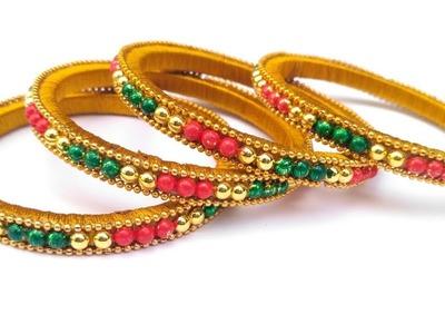 How To Make Designer Fancy Side Bangles. Silk Thread Bangles Making Tutorial at Home