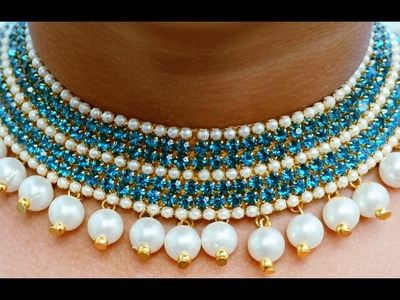 How To Make Designer Pearls  Necklace | Bridal Necklace | DIY | Chokar | Beeds & Pearls Necklace