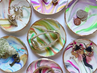 How To Make DIY Stamped Marbled Clay Trinket Dishes