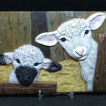Little Lambs ~  Relief Wall Art ~ Handmade/Hand Painted in Polymer Clay