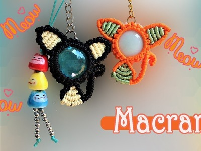 Macrame CAT pattern tutorial ???????????? The macrame KITTY key chain for Iphone 8
