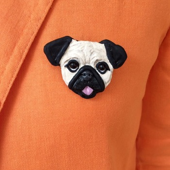 Pug dog Brooch/Pin ~ Handmade ~ Sculptured in polymer clay ~ 3 Dimensional Design ~ One of a kind!
