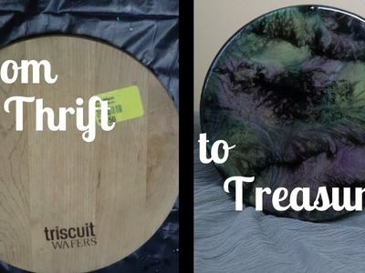 Resin Painting Tutorial on Wood With Acrylic, and Pebeo. From Thrift to Treasure Episode 2!