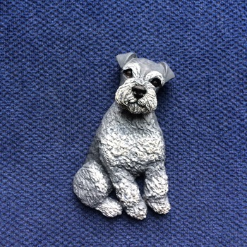 Schnauzer puppy Brooch/Pin ~ Handmade/Hand Painted in Polymer Clay ~ 3D Design