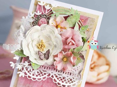 Shabby chic card with tulle ruffle - cardmaking tutorial