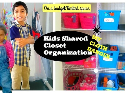 Shared Closet Organization | DIY Cloth hanger| How to organise kids clothes