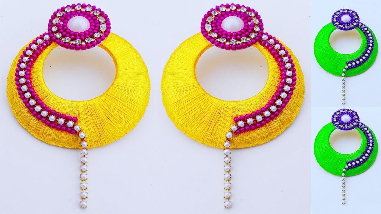 Silk Thread Jewelry Making. earring Tutorial. Beautiful Silk thread earrings at home