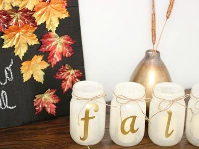 SIMPLE DIY FALL DECOR | Wreath, Chalkboard Sign, Candles || Fall DIY + Decor Challenge