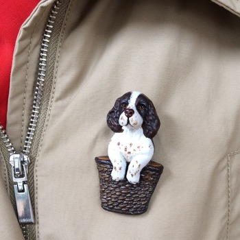 Spaniel puppy Brooch/Pin ~ Hand painted ~ 3 Dimensional Design