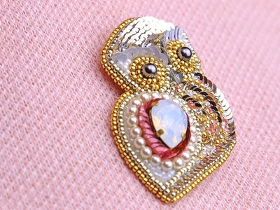 Tutorial for an owl brooch made of  beads, crystals, pearls and sequins