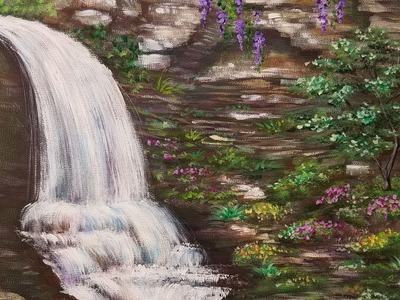 Waterfall Acrylic Painting Tutorial | How to Paint Water, Rocks and Flowers