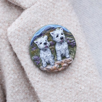 Westie Brooch/Pin ~ Hand painted ~ West Highland Terriers ~ 3 Dimensional Design