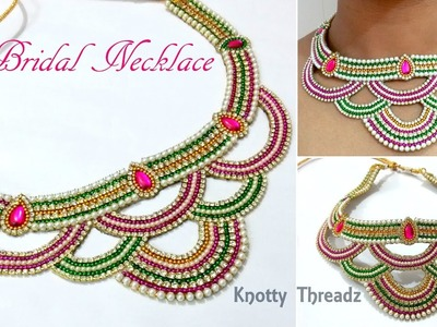 Bridal Jewelry | Making of Heavy Bridal Necklace Using Cut Work Technique | Unique Method | DIY