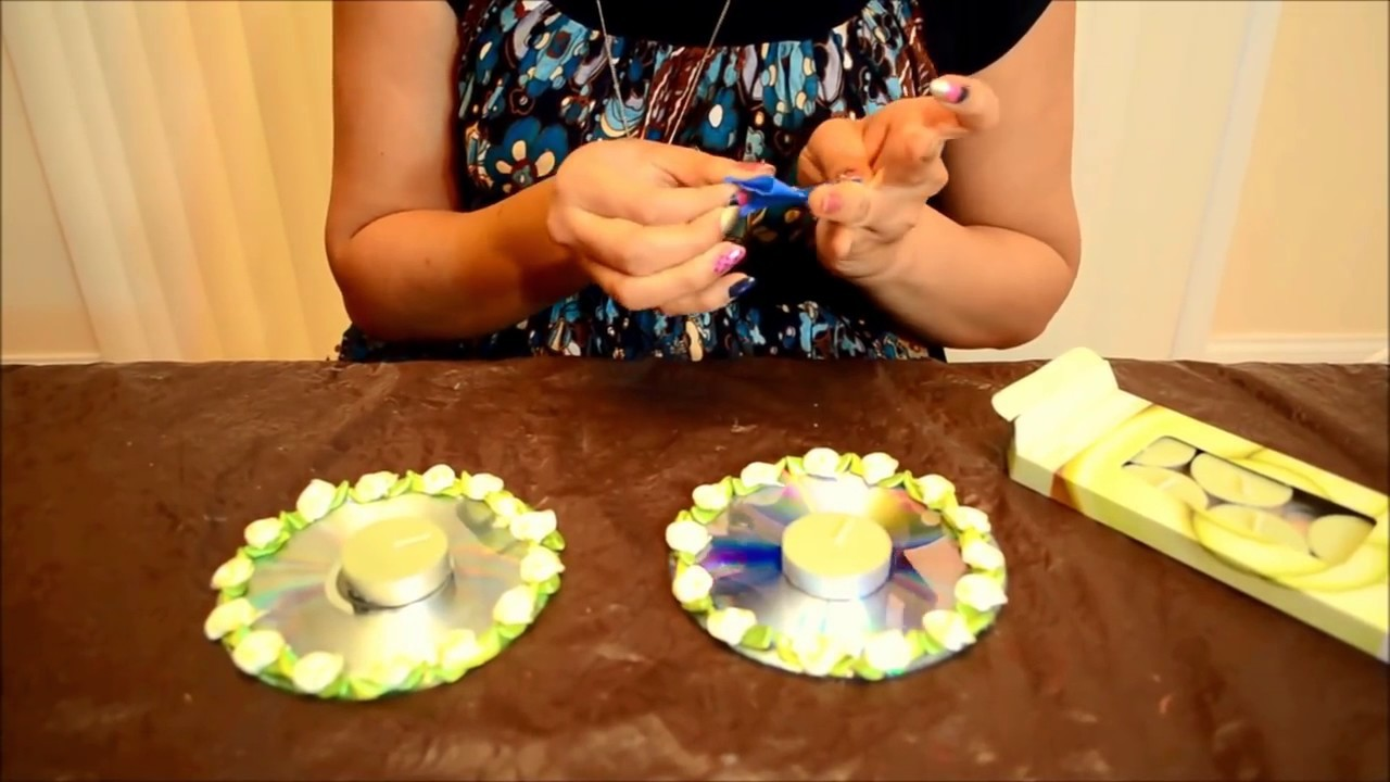 Diy how to make candle holders out of waste cds best from for Best out of waste easy to make
