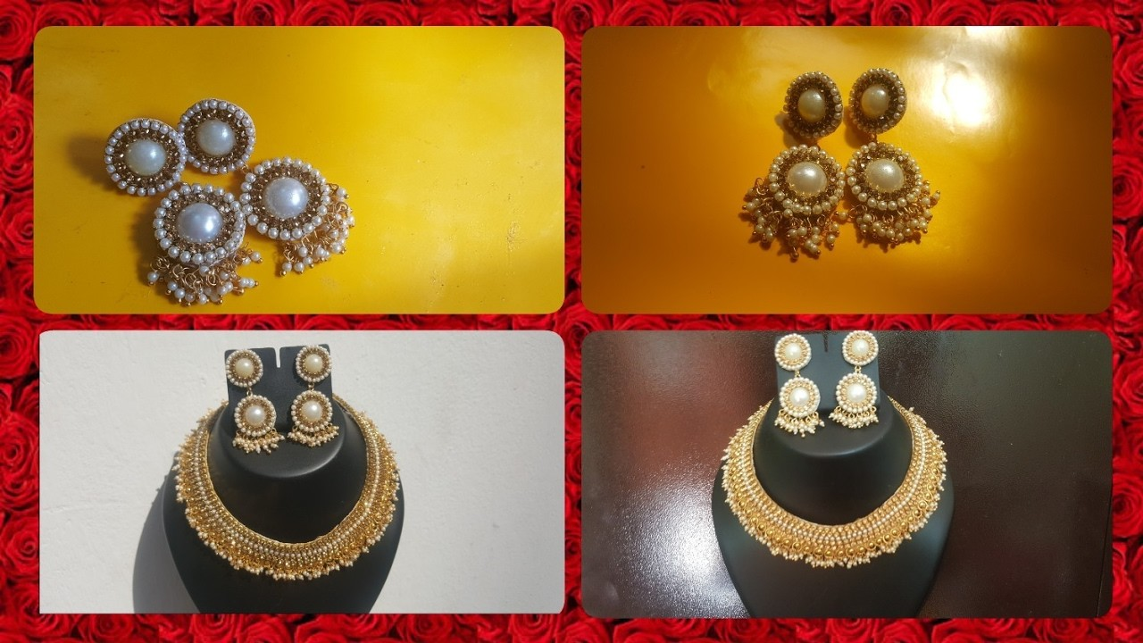 (DIY)HOW TO MAKE DESIGNERS WEAR BRIDAL NECKLACE EARRINGS.THE STUNNING HANDMADE'S.❤