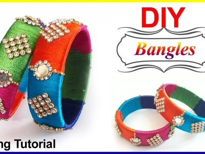DIY | How to make MIRROR Bangle with Silk Thread|Bangle,Making|#Omni_trends