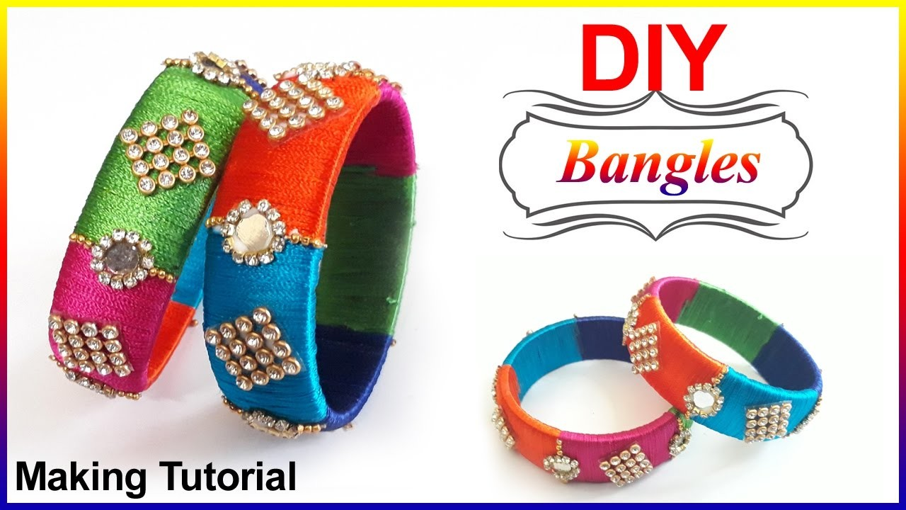 DIY   How to make MIRROR Bangle with Silk Thread Bangle,Making #Omni_trends
