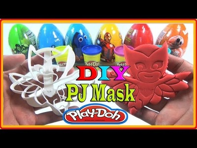 DIY PJ MASK WITH PLAY DOH LEARN COLORS FOR KID
