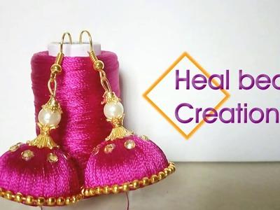 DIY Silk Thread Earrings  - Simple and Easy Homemade silk Thread Jumkas