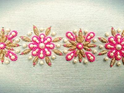 Hand Embroidery: Zardozi Spring Embroidery With Pearls And Beads
