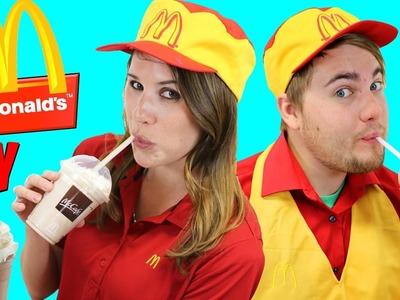 McDonalds Drive Thru DIY Shakes Prank + Kids Happy Meal Magic French Fries Maker DisneyCarToys
