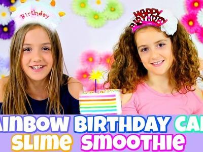RAINBOW BIRTHDAY CAKE SLIME SMOOTHIE!  TWIN BIRTHDAY CELEBRATION!