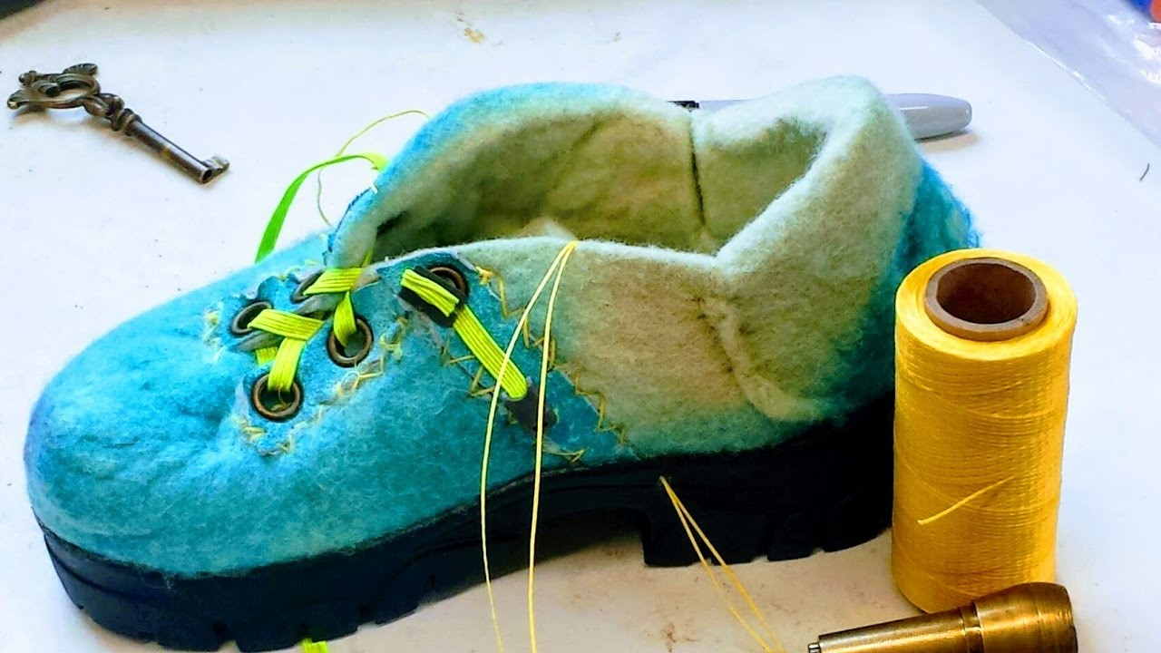 Sewing a Sole. Shoe with a cobbler's Awl:  Episode 31