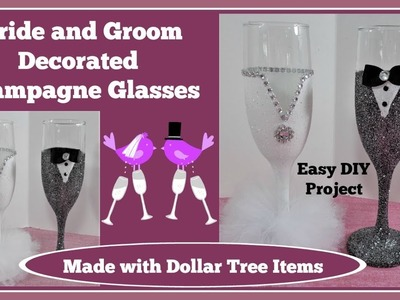 ????Bride and Groom ????Champagne Glasses. Easy DIY *Please read note in description