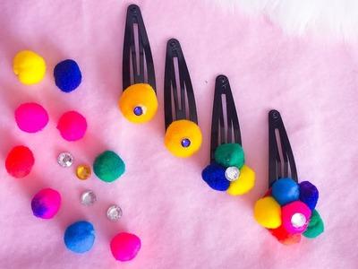 DIY: Cute and easy School holiday fun ideas .  Hair clip with pompom
