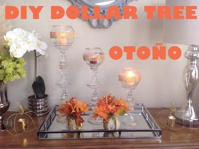 DIY dollar tree???? copas candeleros de cristal para decorar en otoño ????